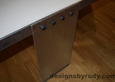 8 White Concrete Coffee Table, Polished Steel Frame, top angle view of a steel leg and frame joint 2, with flash Designs by Rudy