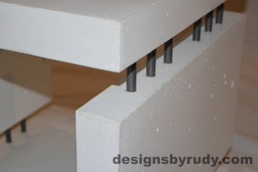 8 White Concrete Side Table DR0 interior lighting, top corner angle view closeup 2, Designs by Rudy