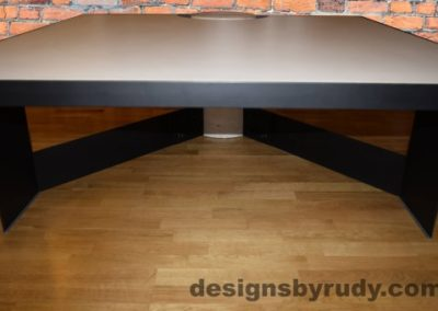 White Concrete Coffee Table, Black Steel Frame, top concrete and steel frame front, Designs by Rudy