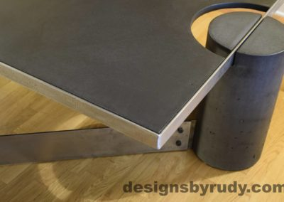 Black Concrete Coffee Table, Polished Steel Frame, frame corner and leg side view, no flash Designs by Rudy