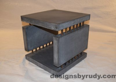 8L Charcoal Concrete Side Table DR0 front corner view, with flash, white bg, Designs by Rudy