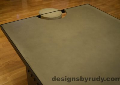 Gray Concrete Coffee Table, Black Steel Frame, angle view, no flash, Designs by Rudy