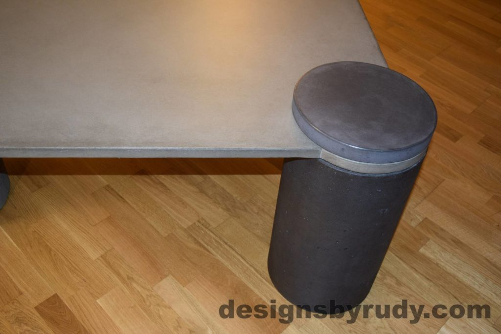 DR18 Gray Concrete Coffee Table, Charcoal Pillar and Charcoal Cap closeup with flash, Designs by Rudy