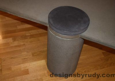 8L Gray Concrete Coffee Table, Gray Pillar and Charcoal Cap closeup with flash, Designs by Rudy
