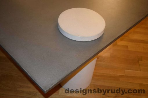 8L Gray Concrete Coffee Table, White Pillar and White Cap closeup with flash, Designs by Rudy DR18