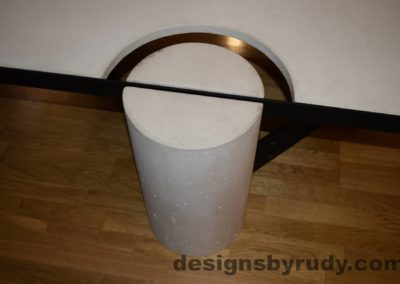 White Concrete Coffee Table, Black Steel Frame, concrete leg and steel frame joint top view 2, Designs by Rudy