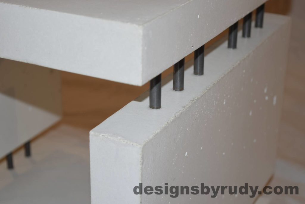 8L White Concrete Side Table DR0 interior lighting, top corner angle view closeup 2, Designs by Rudy