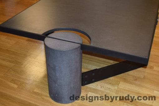 Charcoal Concrete Coffee Table, Black Steel Frame, full round leg side view, with flash, Designs by Rudy