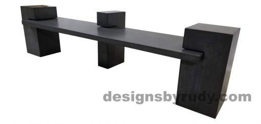 DR CB1 concrete bench on 3 pedestals by Designs by Rudy, right angle view, slab and pedestals in charcoal concrete