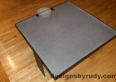 Gray Concrete Coffee Table, Black Steel Frame, top angle view 2, Designs by Rudy