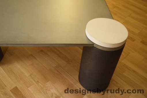 Gray Concrete Coffee Table, Charcoal Pillar and White Cap closeup no flash, Designs by Rudy DR18