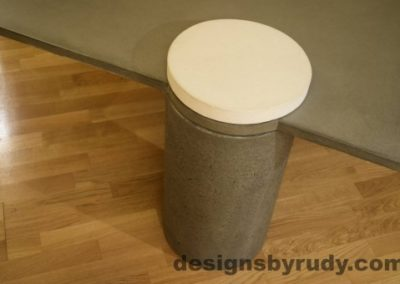 Gray Concrete Coffee Table, Gray Pillar and White Cap closeup no flash, Designs by Rudy