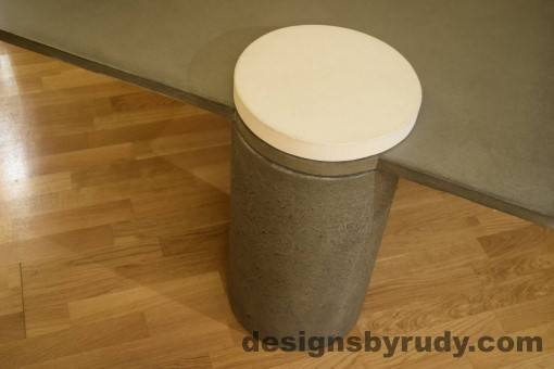 Gray Concrete Coffee Table, Gray Pillar and White Cap closeup no flash, Designs by Rudy