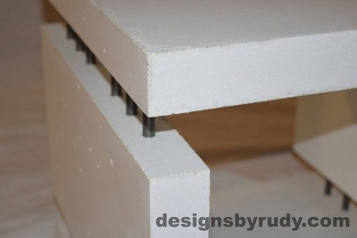 9 White Concrete Side Table DR0 interior lighting, top corner angle view closeup, Designs by Rudy