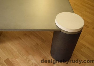DR18 Gray Concrete Coffee Table, Charcoal Pillar and White Cap closeup no flash, Designs by Rudy