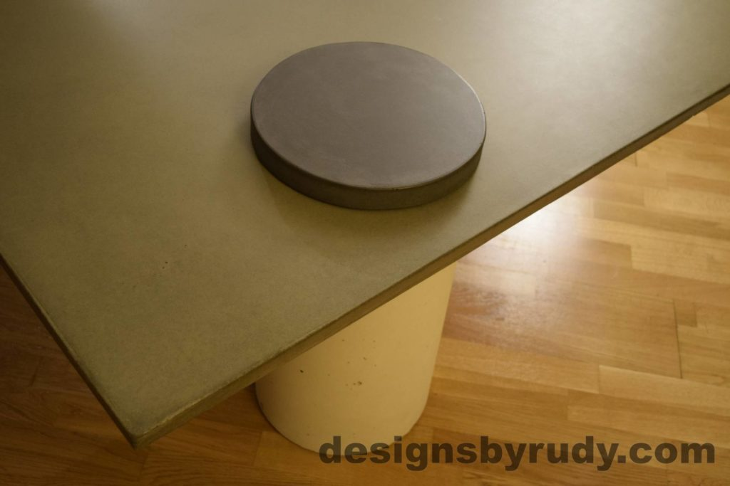 9L Gray Concrete Coffee Table, White Pillar and Charcoal Cap closeup no flash, Designs by Rudy DR18