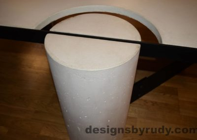 White Concrete Coffee Table, Black Steel Frame, concrete leg and steel frame joint top view 3, Designs by Rudy