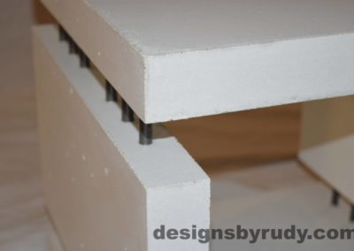 9L White Concrete Side Table DR0 interior lighting, top corner angle view closeup, Designs by Rudy