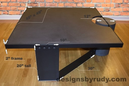 Charcoal Concrete Coffee Table, Black Steel Frame, dimensions, Designs by Rudy small