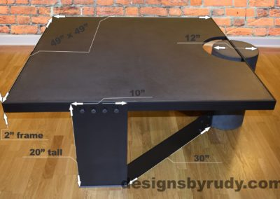 Black Concrete Coffee Table, Black Steel Frame, dimensions, Designs by Rudy