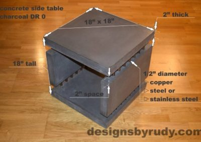 Charcoal Concrete Side Table DR0 dimensions, Designs by Rudy