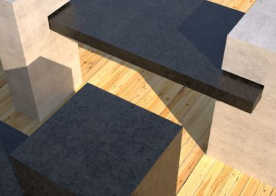 Concrete Benches, charcoal concrete slab supported on 3 white concrete square columns closeup, Designs by Rudy