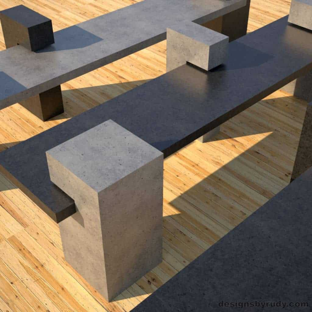 Concrete Benches, concrete slab supported on 3 square columns, 3 benches closeup, Designs by Rudy