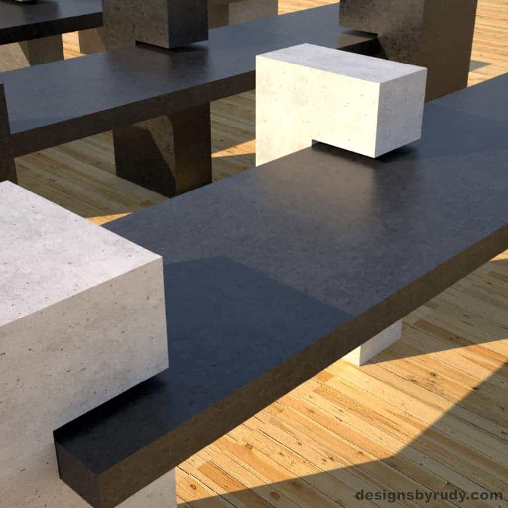 Concrete Benches, front view of a charcoal concrete slab supported on 3 white concrete square columns closeup, Designs by Rudy