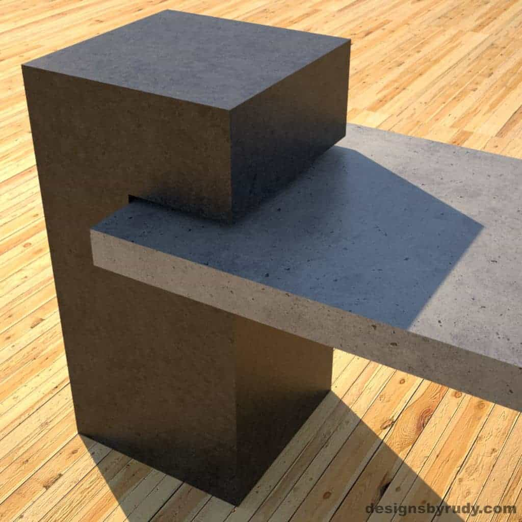 Concrete Benches, gray concrete slab and charcoal concrete square column detail view 2, Designs by Rudy