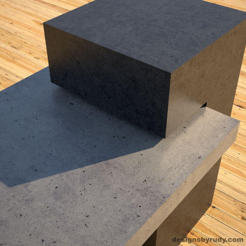 Concrete Benches, gray concrete slab and charcoal concrete square column detail view, Designs by Rudy