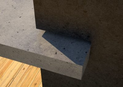 Concrete Benches, gray concrete slab and charcoal concrete square column jaw detail view 3, Designs by Rudy