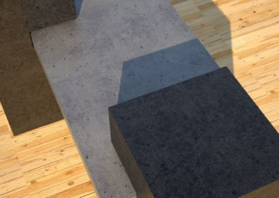 Concrete Benches, gray concrete slab supported on 3 charcoal concrete square columns, top of one column detail view, Designs by Rudy