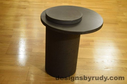Concrete Side Table, Charcoal Top and Cap, Pillars model, Designs by Rudy