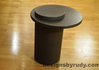 Concrete Side Table, Charcoal Top and Cap, Pillars model, Designs by Rudy L