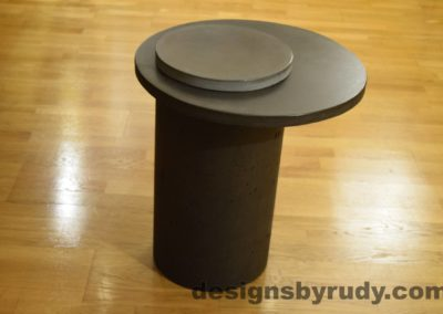 Concrete Side Table, Charcoal Top and Gray Cap, Pillars model, Designs by Rudy L