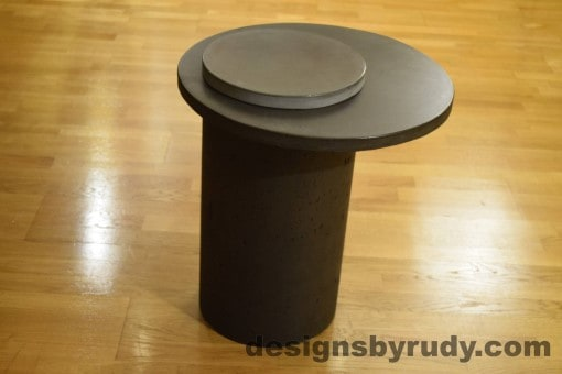Concrete Side Table, Charcoal Top and Gray Cap, Pillars model, Designs by Rudy