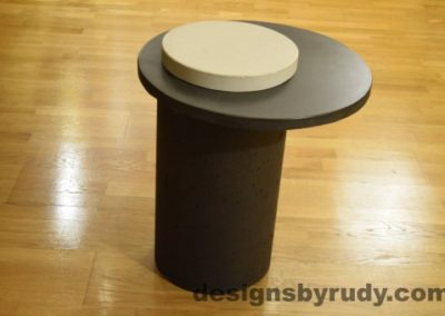 Concrete Side Table, Charcoal Top and White Cap, Pillars model, Designs by Rudy