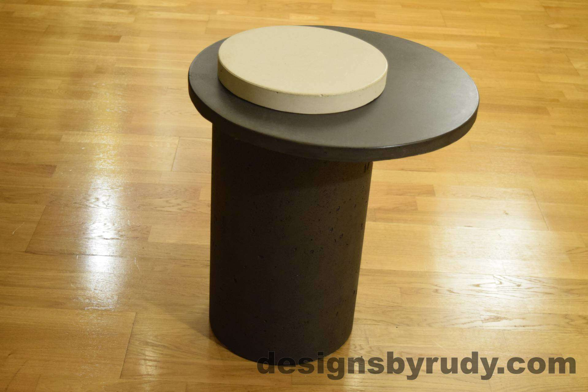 Concrete Side Table, Charcoal Top and White Cap, Pillars model, Designs by Rudy L