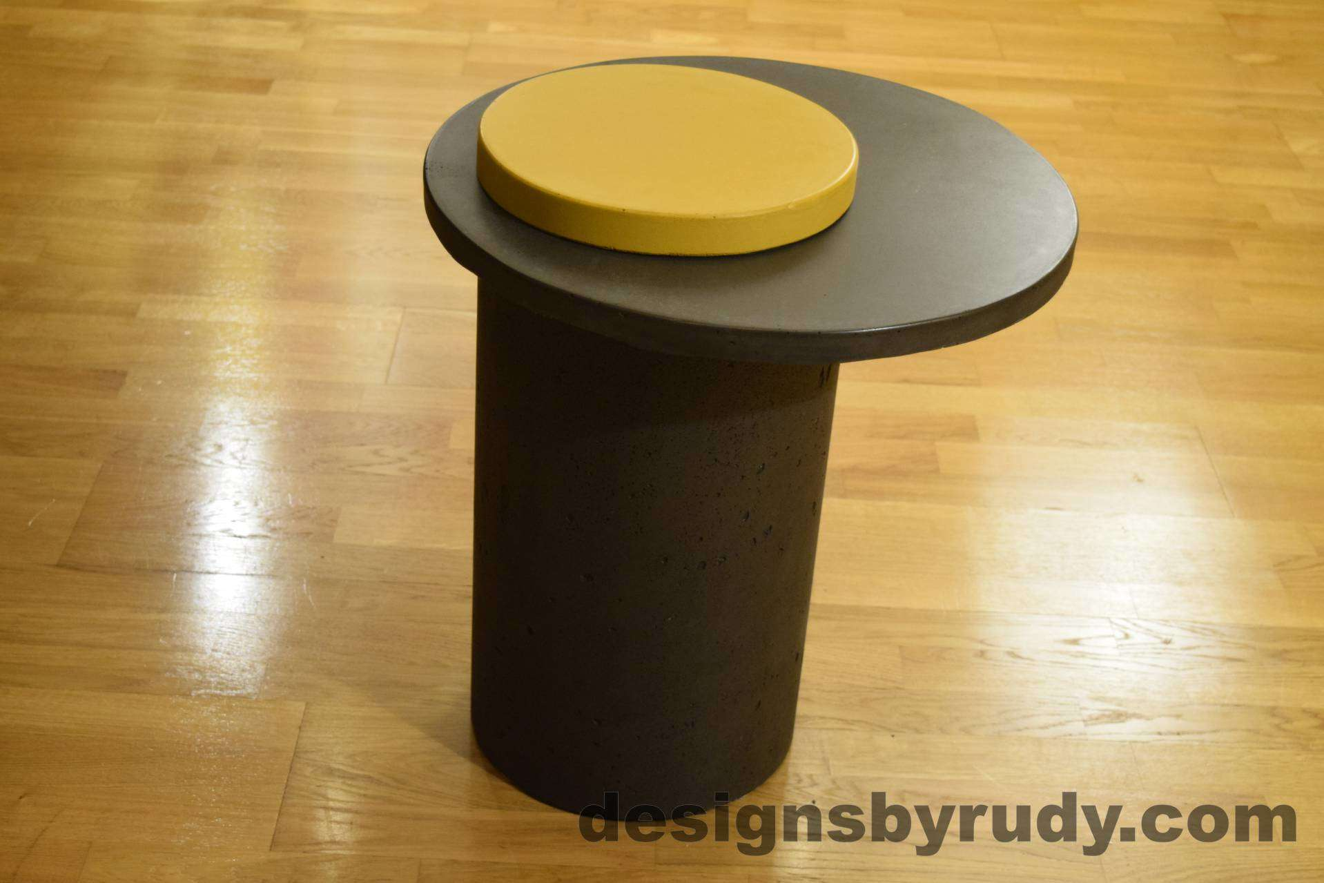 Concrete Side Table, Charcoal Top and Yellow Cap, Pillars model, Designs by Rudy L