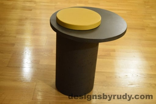 Concrete Side Table, Charcoal Top and Yellow Cap, Pillars model, Designs by Rudy
