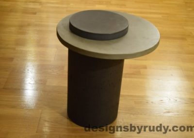 Concrete Side Table, Gray Top and Charcoal Cap, Pillars model, Designs by Rudy