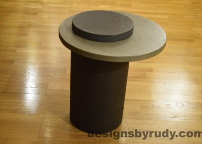 Concrete Side Table, Gray Top and Charcoal Cap, Pillars model, Designs by Rudy L