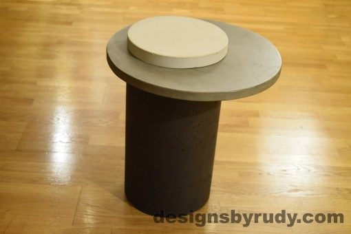 Concrete Side Table, Gray Top and White Cap, Pillars model, Designs by Rudy