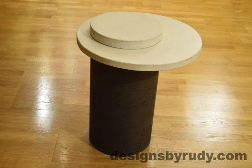 Concrete Side Table, White Top and Cap, Pillars model, Designs by Rudy