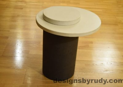 Concrete Side Table, White Top and Cap, Pillars model, Designs by Rudy L