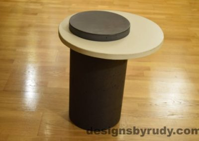 Concrete Side Table, White Top and Charcoal Cap, Pillars model, Designs by Rudy