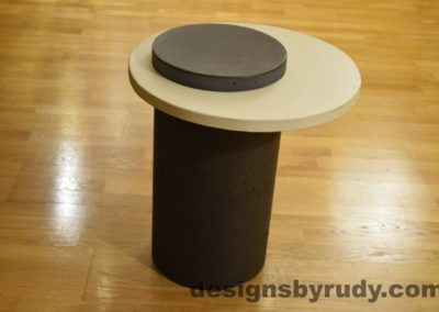 Concrete Side Table, White Top and Charcoal Cap, Pillars model, Designs by Rudy L