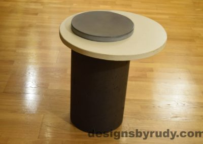 Concrete Side Table, White Top and Gray Cap, Pillars model, Designs by Rudy L
