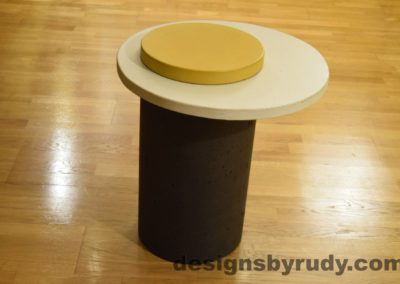 Concrete Side Table, WhiteTop and Yellow Cap, Pillars model, Designs by Rudy L