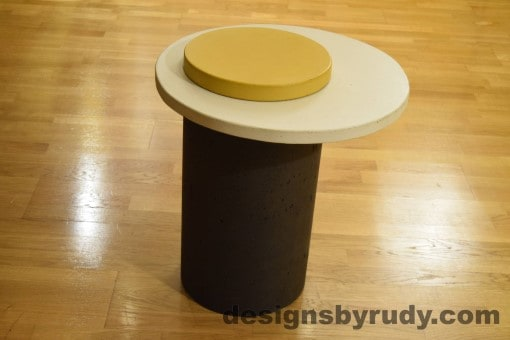 Concrete Side Table, WhiteTop and Yellow Cap, Pillars model, Designs by Rudy